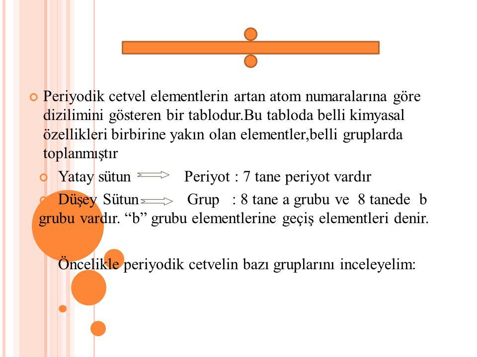 Periyodik cetvel elementlerin artan atom numaralarına göre dizilimini gösteren bir tablodur.Bu tabloda belli kimyasal özellikleri birbirine yakın olan elementler,belli gruplarda toplanmıştır
