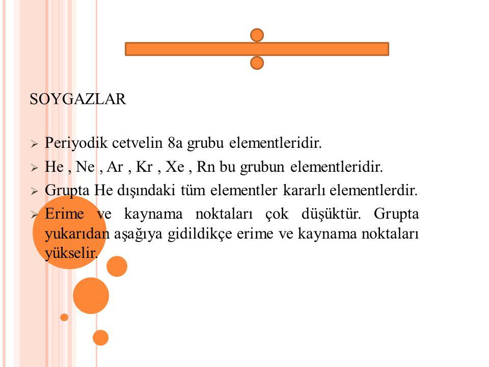 SOYGAZLAR Periyodik cetvelin 8a grubu elementleridir. He , Ne , Ar , Kr , Xe , Rn bu grubun elementleridir.