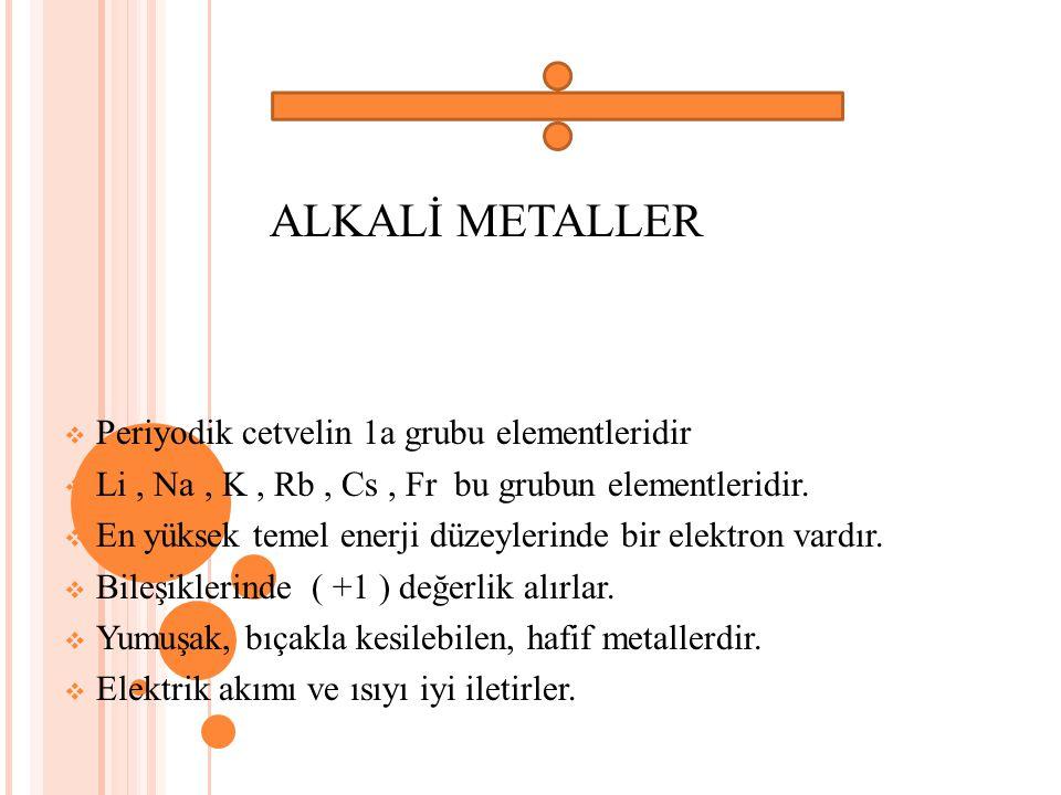 ALKALİ METALLER Periyodik cetvelin 1a grubu elementleridir