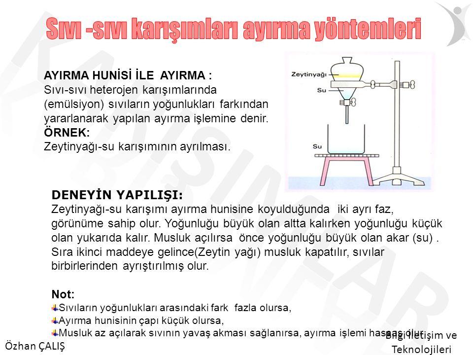 Sıvı -sıvı karışımları ayırma yöntemleri