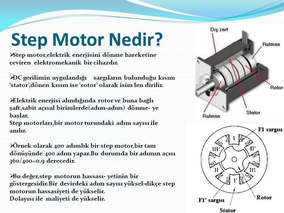 Step Motor Nedir Step motor,elektrik enerjisini dönme hareketine çeviren elektromekanik bir cihazdır.