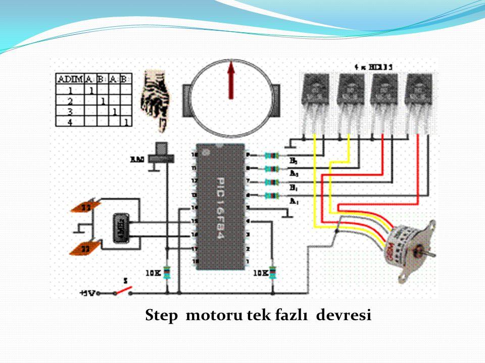 Step motoru tek fazlı devresi