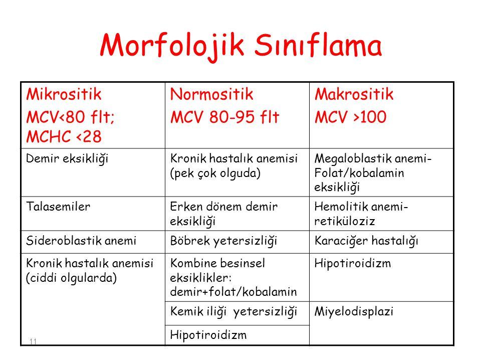 Morfolojik Sınıflama Mikrositik MCV<80 flt; MCHC <28 Normositik