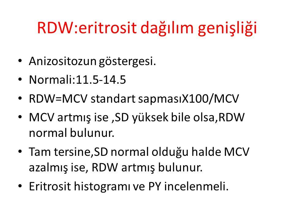 RDW:eritrosit dağılım genişliği