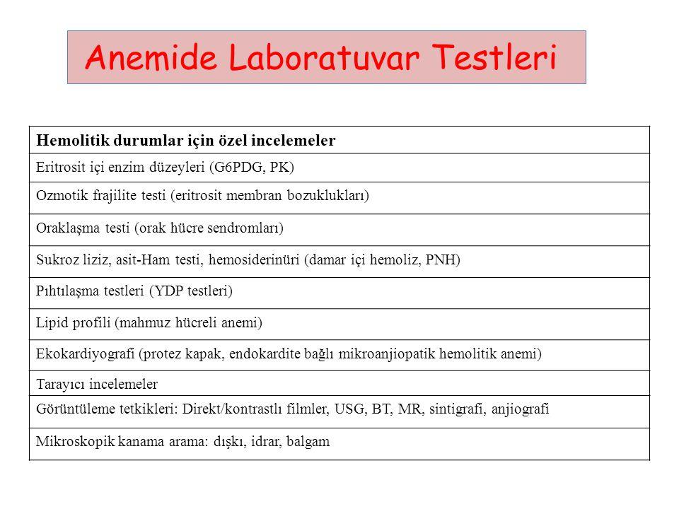 Anemide Laboratuvar Testleri