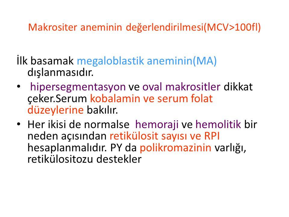 Makrositer aneminin değerlendirilmesi(MCV>100fl)