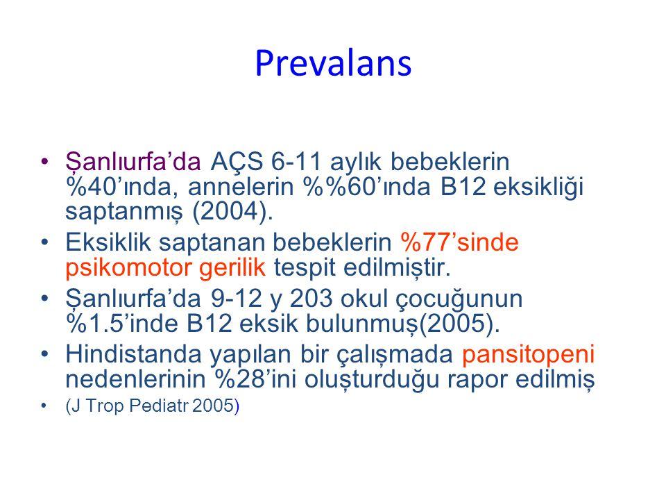Prevalans Şanlıurfa'da AÇS 6-11 aylık bebeklerin %40'ında, annelerin %%60'ında B12 eksikliği saptanmış (2004).
