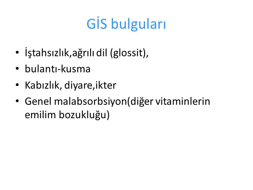 GİS bulguları İştahsızlık,ağrılı dil (glossit), bulantı-kusma