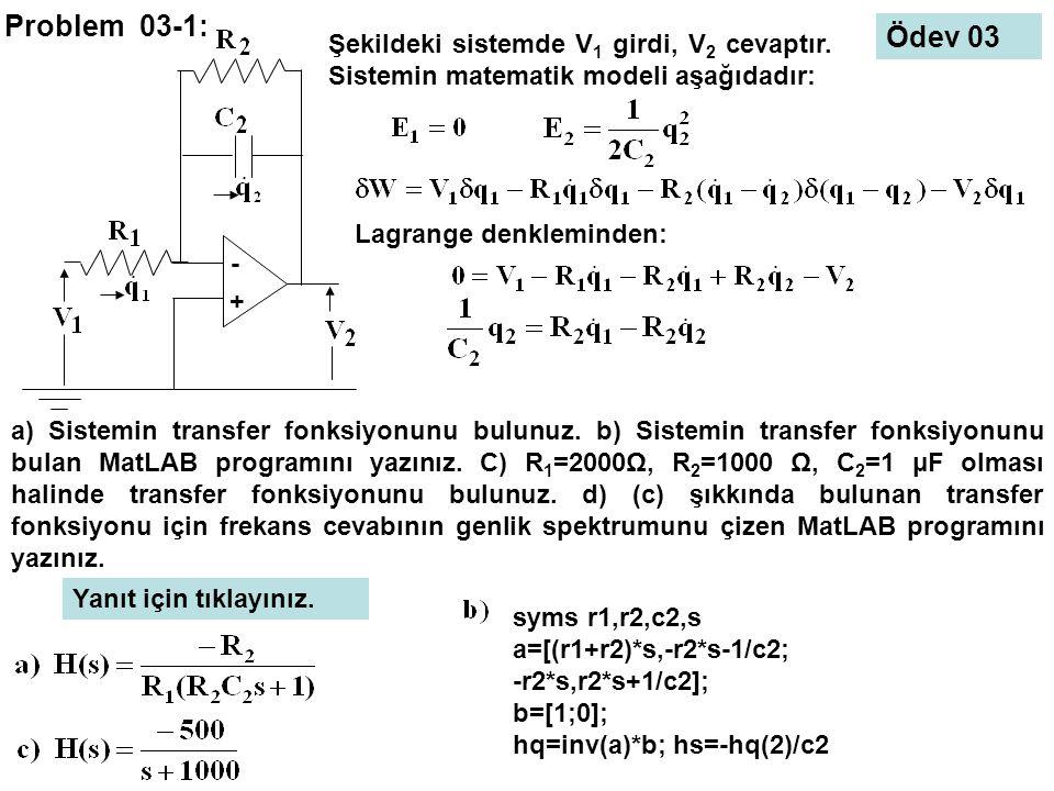 Problem 03-1: Ödev 03. - + Şekildeki sistemde V1 girdi, V2 cevaptır. Sistemin matematik modeli aşağıdadır: