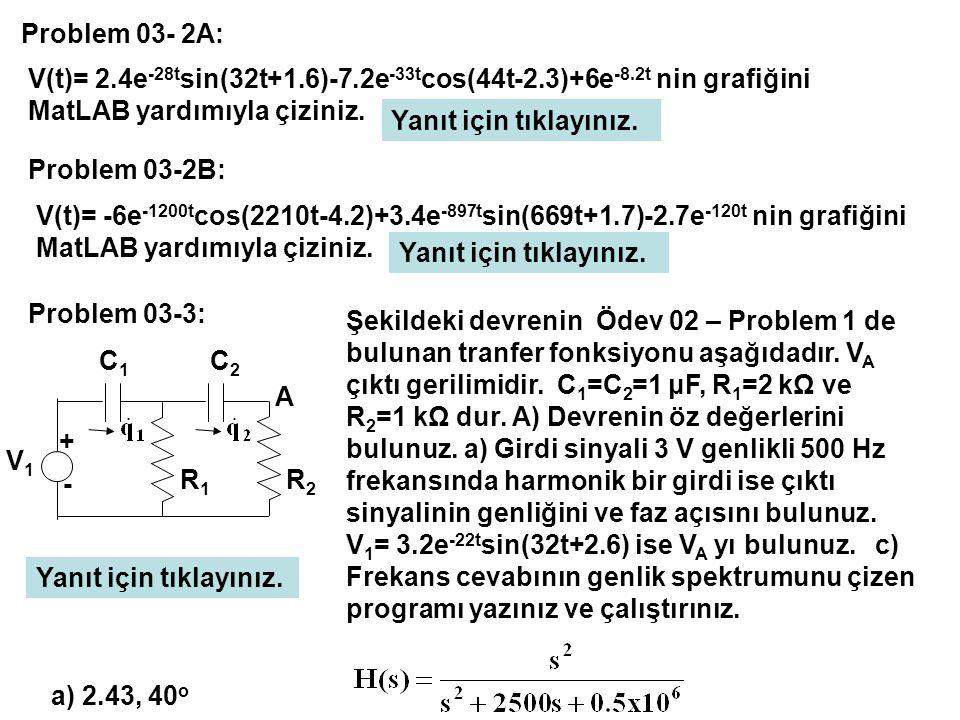 Problem 03- 2A: V(t)= 2.4e-28tsin(32t+1.6)-7.2e-33tcos(44t-2.3)+6e-8.2t nin grafiğini MatLAB yardımıyla çiziniz.