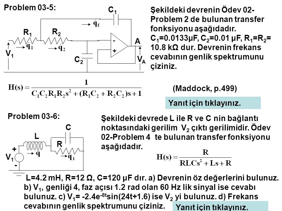 L=4.2 mH, R=12 Ω, C=120 μF dır. a) Devrenin öz değerlerini bulunuz.