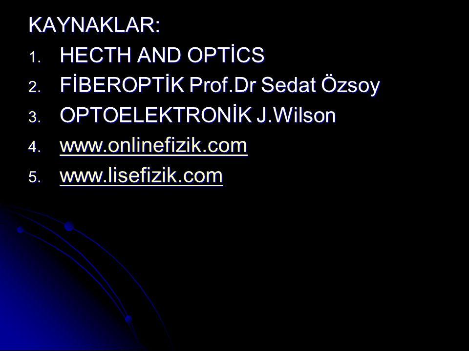 KAYNAKLAR: HECTH AND OPTİCS. FİBEROPTİK Prof.Dr Sedat Özsoy. OPTOELEKTRONİK J.Wilson. www.onlinefizik.com.