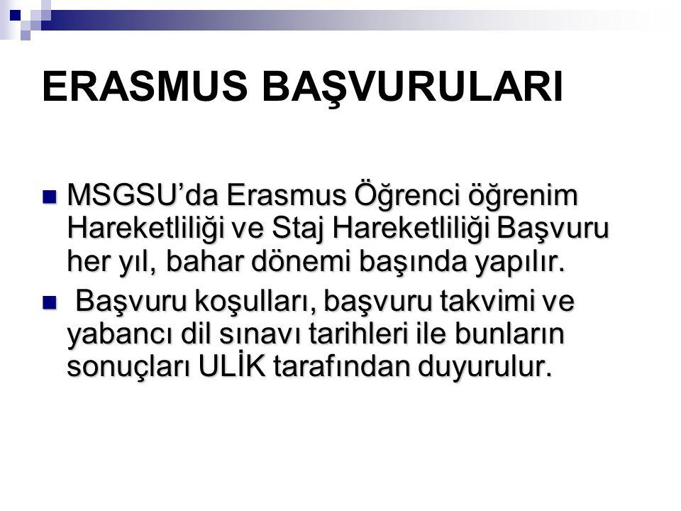 ERASMUS BAŞVURULARI MSGSU'da Erasmus Öğrenci öğrenim Hareketliliği ve Staj Hareketliliği Başvuru her yıl, bahar dönemi başında yapılır.