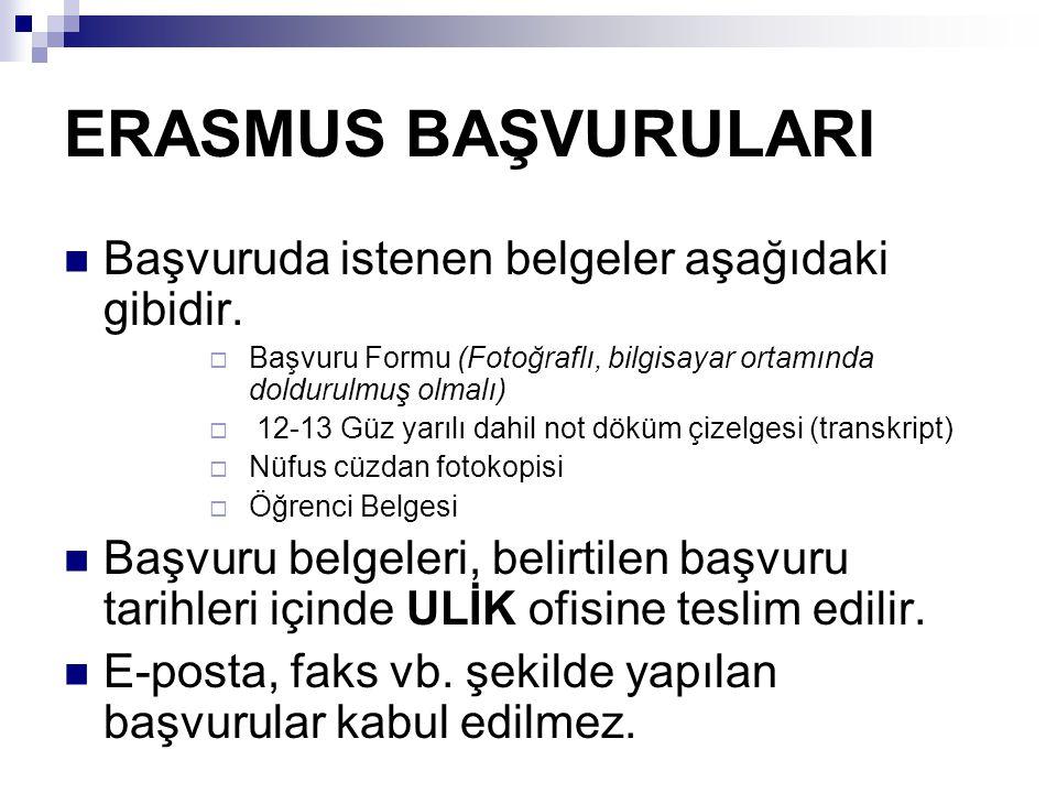 ERASMUS BAŞVURULARI Başvuruda istenen belgeler aşağıdaki gibidir.