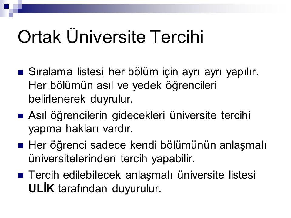 Ortak Üniversite Tercihi
