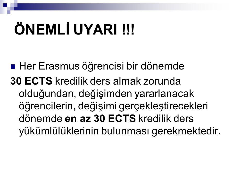 ÖNEMLİ UYARI !!! Her Erasmus öğrencisi bir dönemde