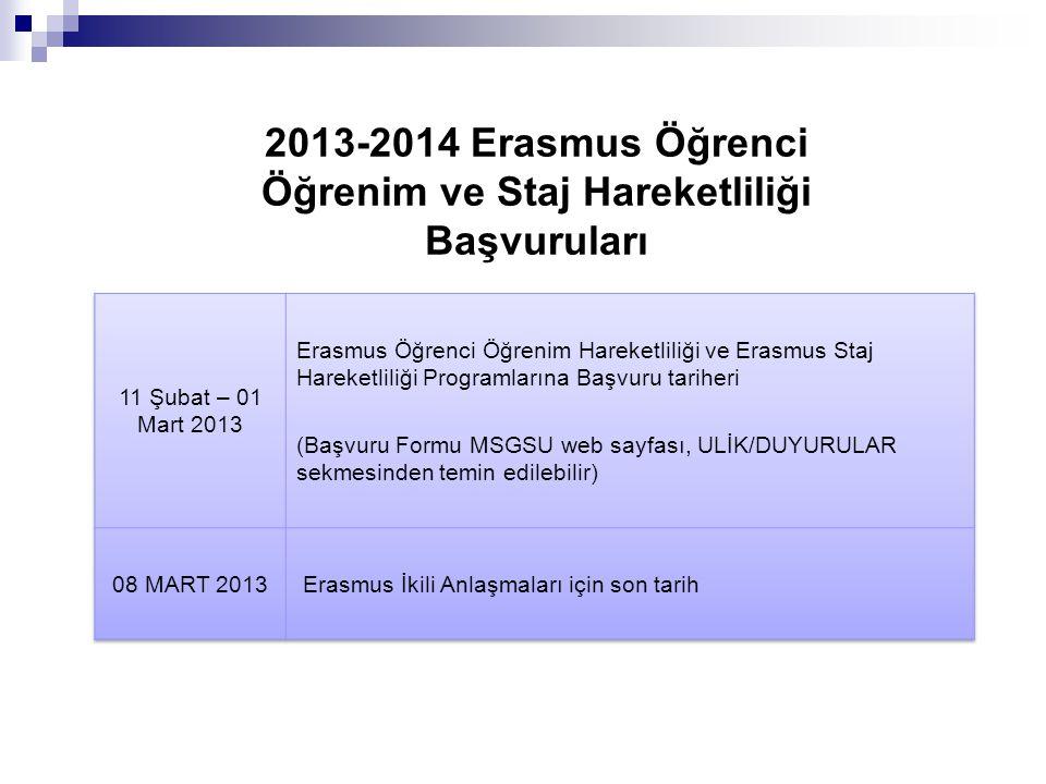 2013-2014 Erasmus Öğrenci Öğrenim ve Staj Hareketliliği Başvuruları