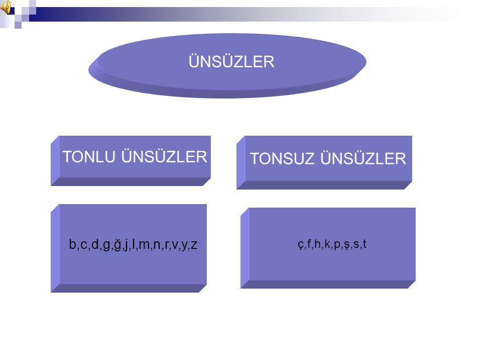 ÜNSÜZLER TONLU ÜNSÜZLER TONSUZ ÜNSÜZLER b,c,d,g,ğ,j,l,m,n,r,v,y,z