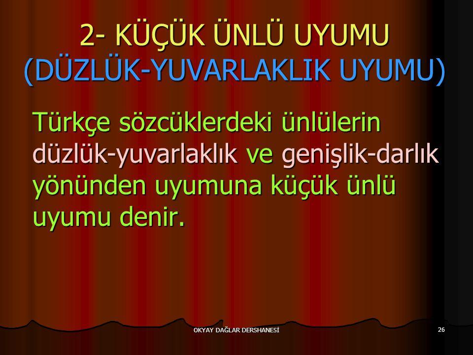 2- KÜÇÜK ÜNLÜ UYUMU (DÜZLÜK-YUVARLAKLIK UYUMU)