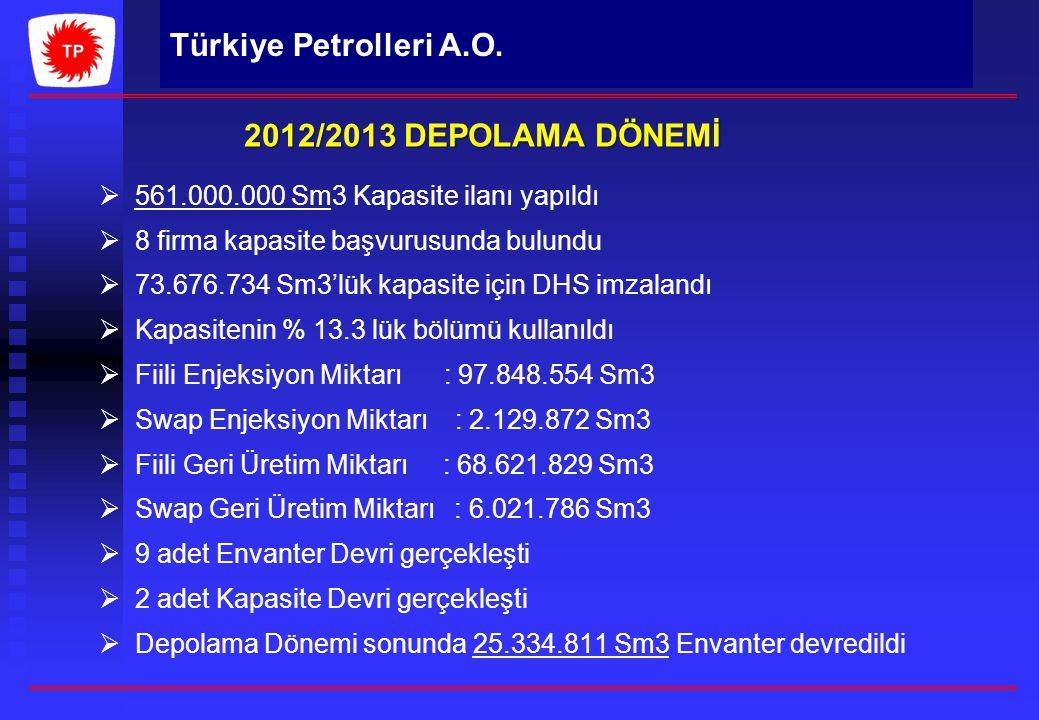 2012/2013 DEPOLAMA DÖNEMİ 561.000.000 Sm3 Kapasite ilanı yapıldı