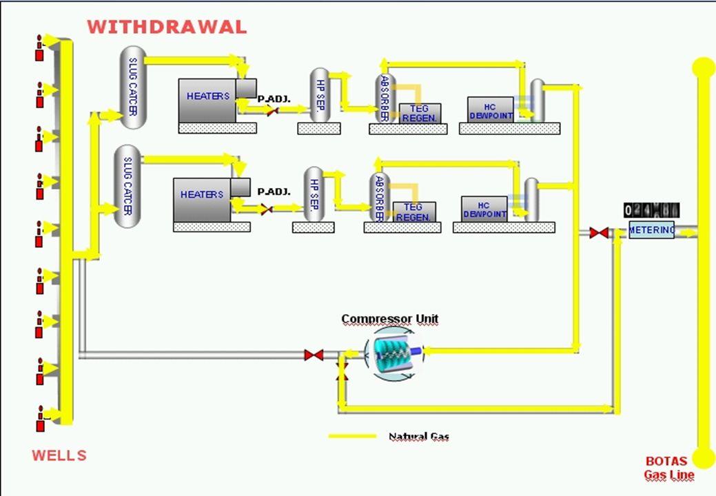 WITHDRAWAL WELLS Compressor Unit BOTAS Gas Line SLUG CATCER HP SEP.