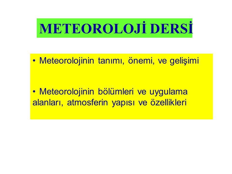 METEOROLOJİ DERSİ Meteorolojinin tanımı, önemi, ve gelişimi