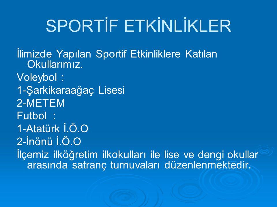 SPORTİF ETKİNLİKLER İlimizde Yapılan Sportif Etkinliklere Katılan Okullarımız. Voleybol : 1-Şarkikaraağaç Lisesi.