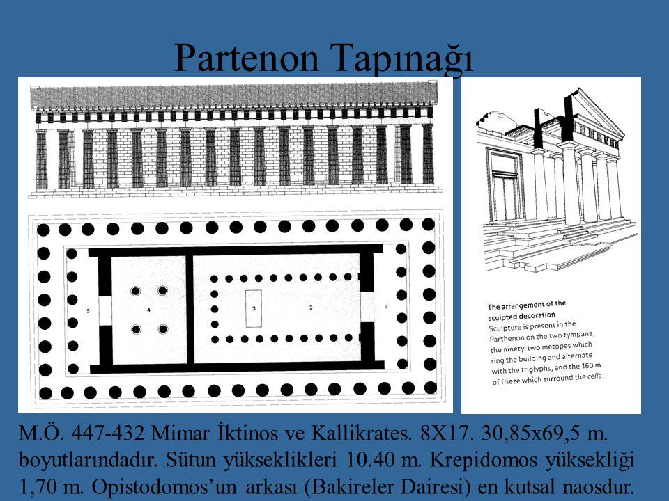 Partenon Tapınağı M.Ö. 447-432 Mimar İktinos ve Kallikrates. 8X17. 30,85x69,5 m. boyutlarındadır. Sütun yükseklikleri 10.40 m. Krepidomos yüksekliği.