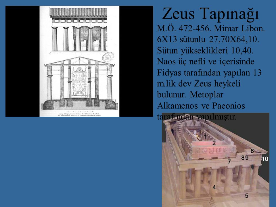 Zeus Tapınağı M.Ö. 472-456. Mimar Libon.