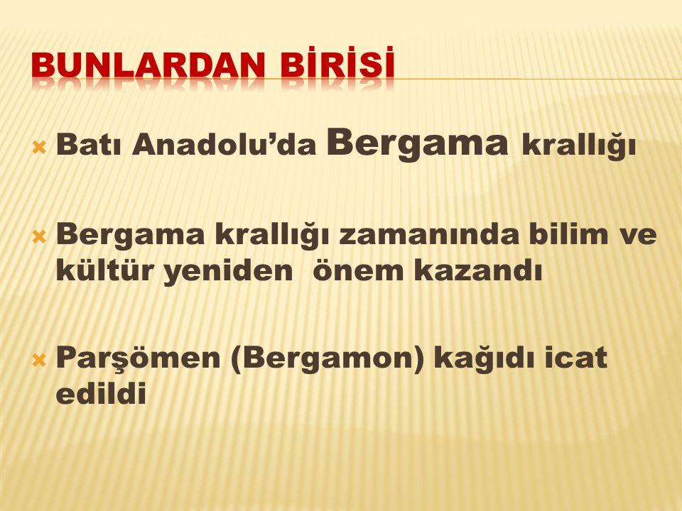 Bunlardan bİrİsİ Batı Anadolu'da Bergama krallığı