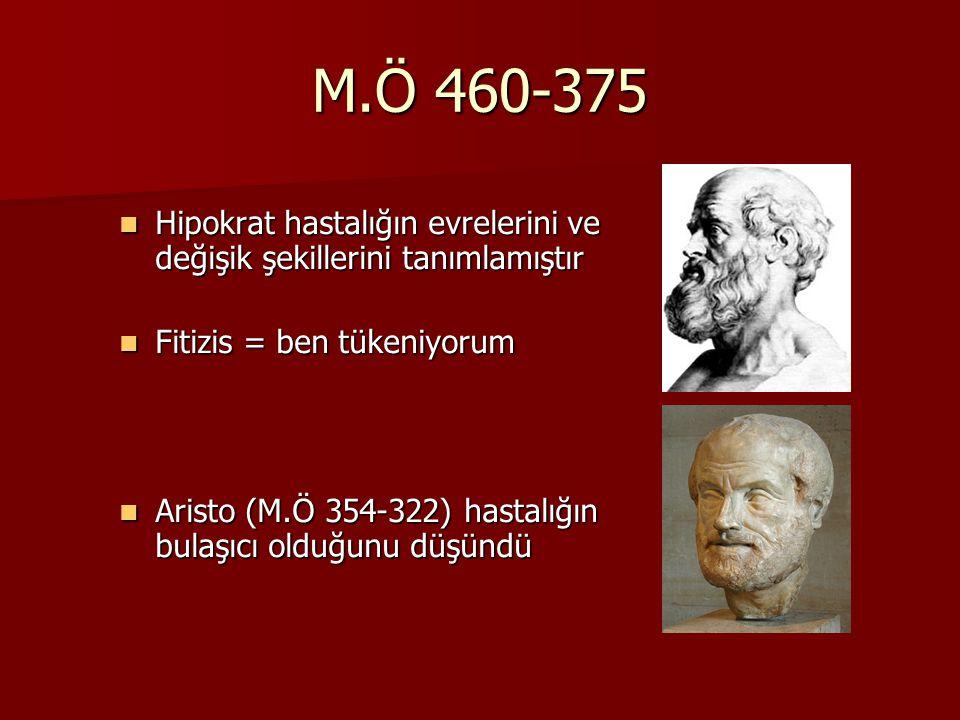 M.Ö 460-375 Hipokrat hastalığın evrelerini ve değişik şekillerini tanımlamıştır. Fitizis = ben tükeniyorum.