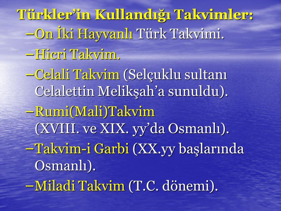 Türkler'in Kullandığı Takvimler: