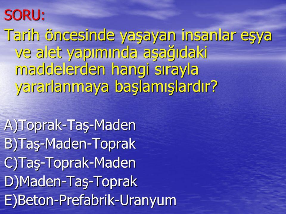 SORU: Tarih öncesinde yaşayan insanlar eşya ve alet yapımında aşağıdaki maddelerden hangi sırayla yararlanmaya başlamışlardır