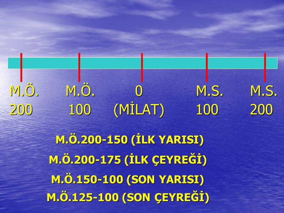 M.Ö. M.Ö. 0 M.S. M.S. 200 100 (MİLAT) 100 200 M.Ö.200-150 (İLK YARISI)