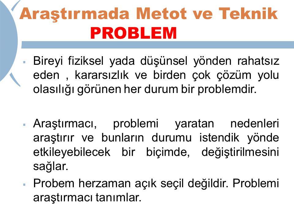 Araştırmada Metot ve Teknik PROBLEM