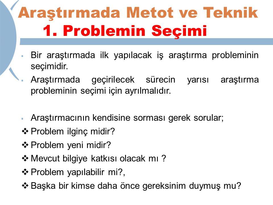 Araştırmada Metot ve Teknik 1. Problemin Seçimi