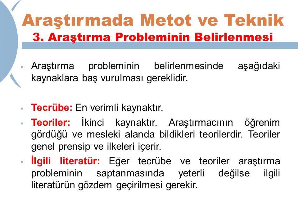Araştırmada Metot ve Teknik 3. Araştırma Probleminin Belirlenmesi