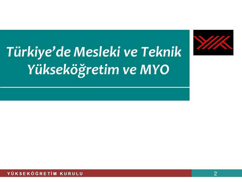 Türkiye'de Mesleki ve Teknik Yükseköğretim ve MYO