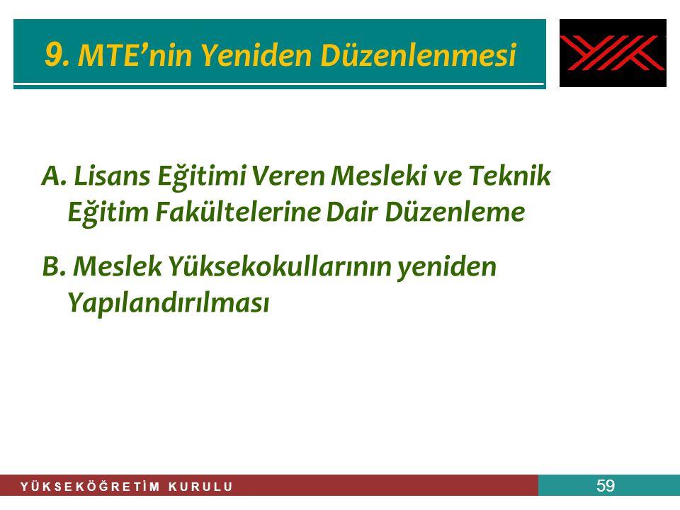 9. MTE'nin Yeniden Düzenlenmesi