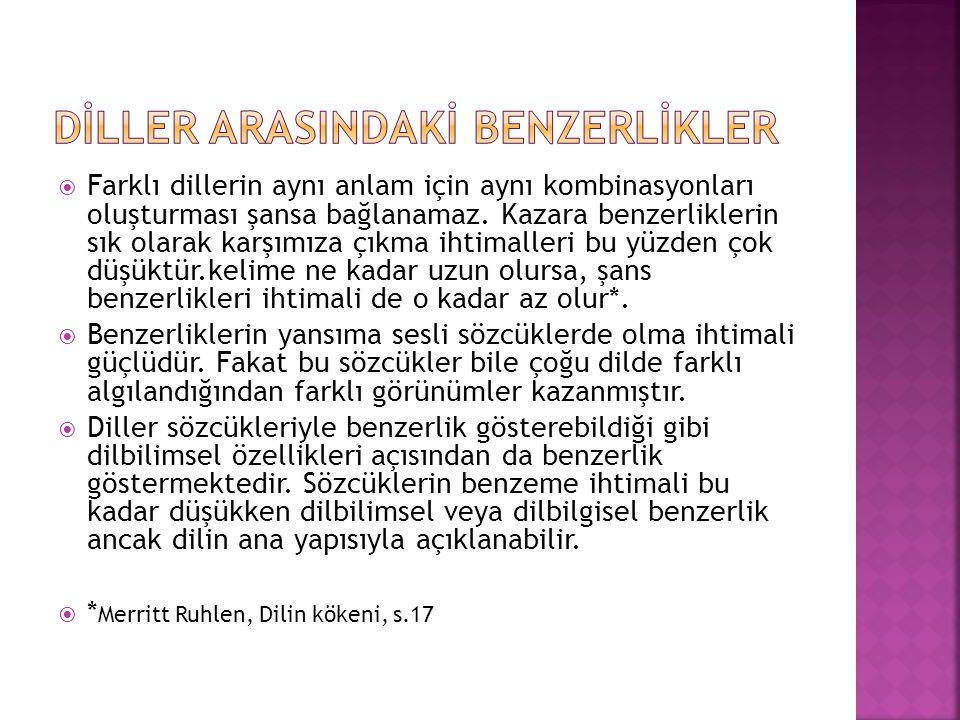 DİLLER ARASINDAKİ BENZERLİKLER