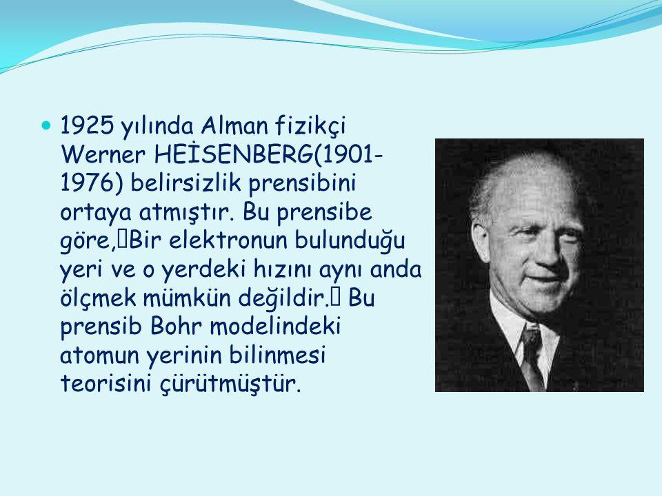 1925 yılında Alman fizikçi Werner HEİSENBERG(1901-1976) belirsizlik prensibini ortaya atmıştır.