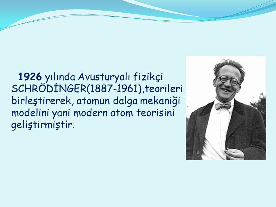 1926 yılında Avusturyalı fizikçi SCHRÖDİNGER(1887-1961),teorileri birleştirerek, atomun dalga mekaniği modelini yani modern atom teorisini geliştirmiştir.