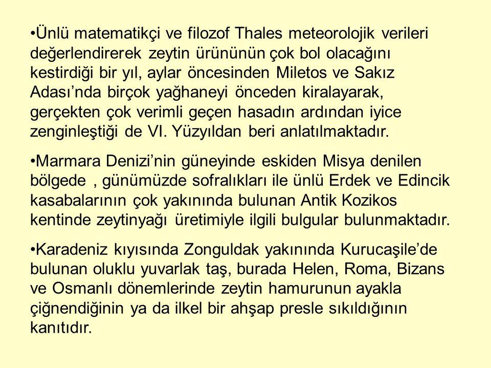 Ünlü matematikçi ve filozof Thales meteorolojik verileri değerlendirerek zeytin ürününün çok bol olacağını kestirdiği bir yıl, aylar öncesinden Miletos ve Sakız Adası'nda birçok yağhaneyi önceden kiralayarak, gerçekten çok verimli geçen hasadın ardından iyice zenginleştiği de VI. Yüzyıldan beri anlatılmaktadır.