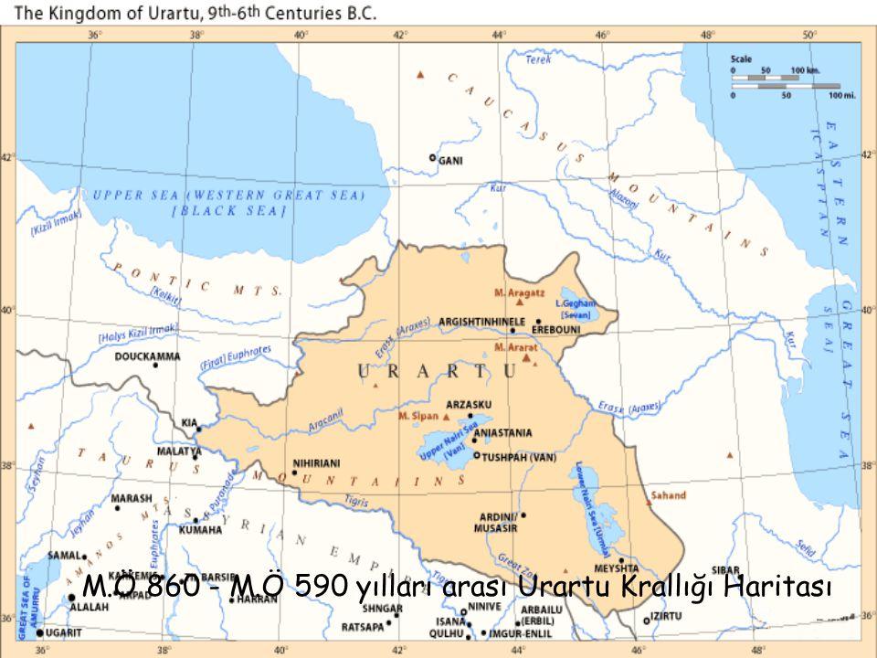 M.Ö 860 - M.Ö 590 yılları arası Urartu Krallığı Haritası
