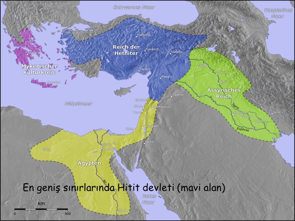 En geniş sınırlarında Hitit devleti (mavi alan)