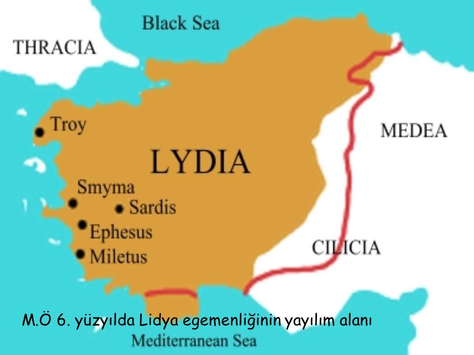 M.Ö 6. yüzyılda Lidya egemenliğinin yayılım alanı