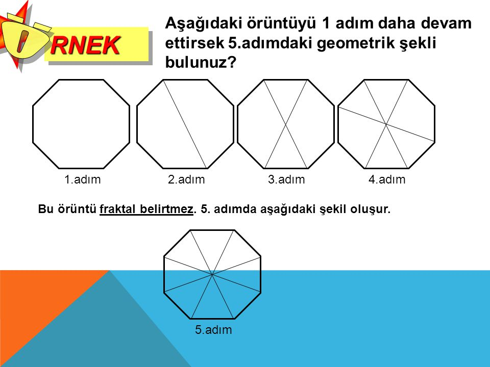 RNEK Ö. Aşağıdaki örüntüyü 1 adım daha devam ettirsek 5.adımdaki geometrik şekli bulunuz 2.adım.