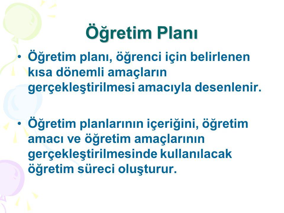 Öğretim Planı Öğretim planı, öğrenci için belirlenen kısa dönemli amaçların gerçekleştirilmesi amacıyla desenlenir.