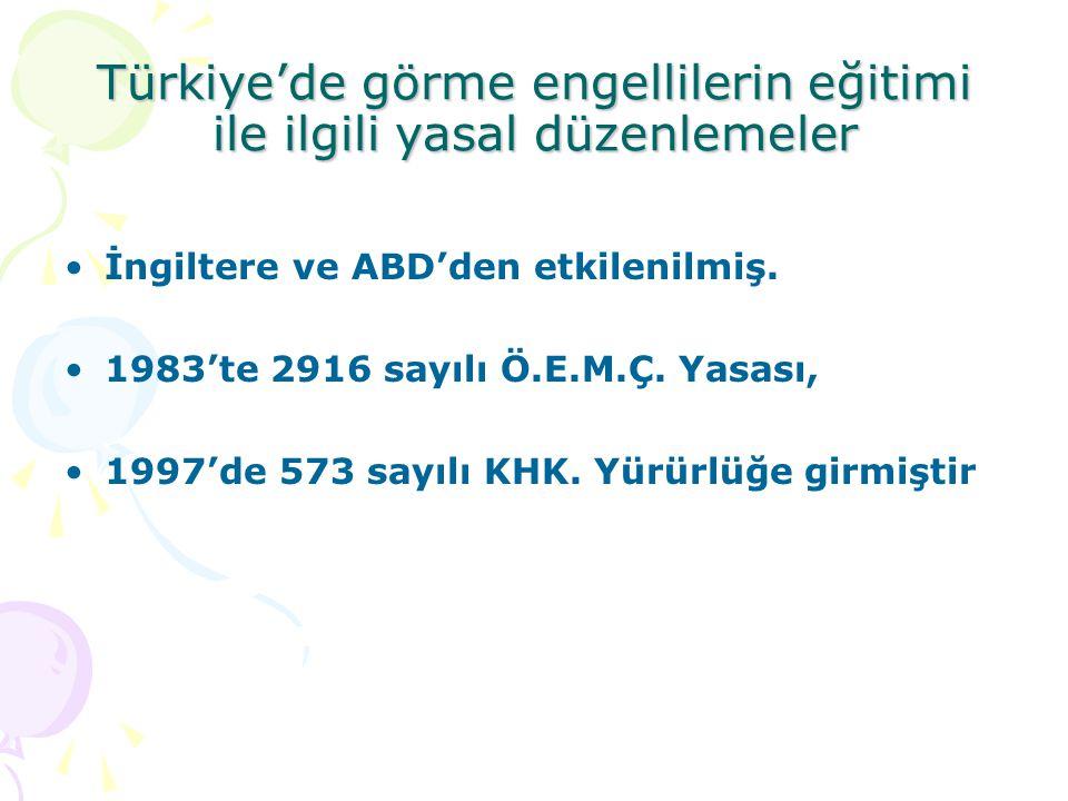 Türkiye'de görme engellilerin eğitimi ile ilgili yasal düzenlemeler