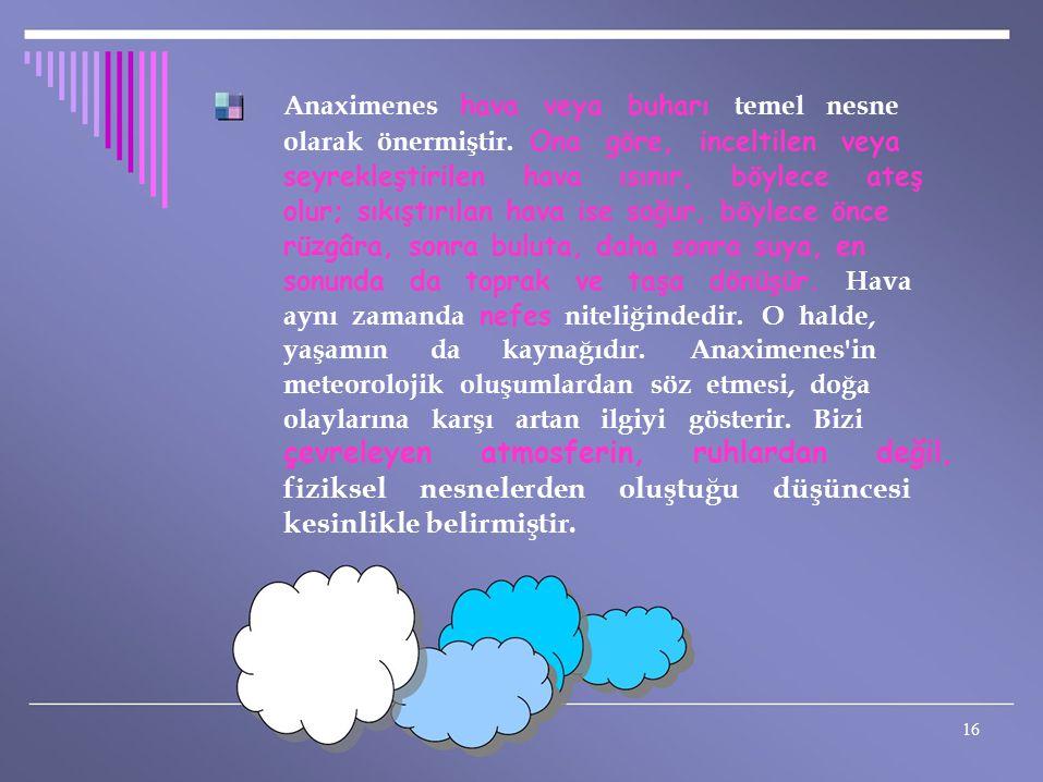 Anaximenes hava veya buharı temel nesne